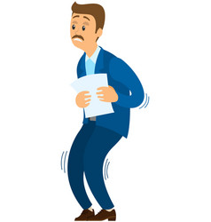 Scared man shakes knees from fear businessman vector