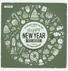 Set new year cartoon doodle objects round frame vector