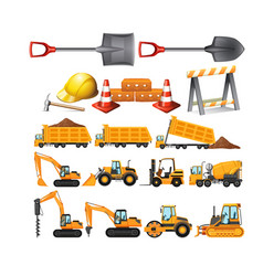 set of construction vehicles vector image