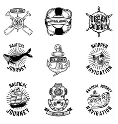 set of hand drawn nautical emblems design vector image