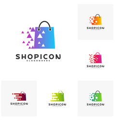 set of online shop store market logo template vector image