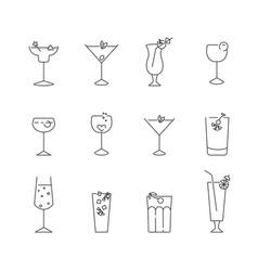 Set simple line icons classic cocktails vector