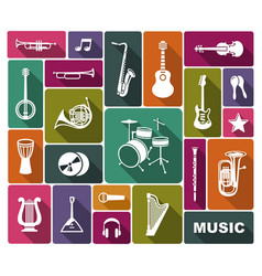 Silhouettes musical instruments vector