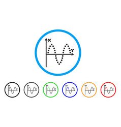 sinusoid plot rounded icon vector image