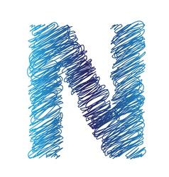 sketched letter N vector image