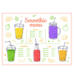 Smoothie menu cold drinks summer shakes and vector