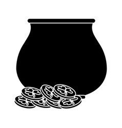 St patricks day pot coin treasure pictogram vector
