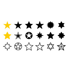 Star icons set five star collection vector