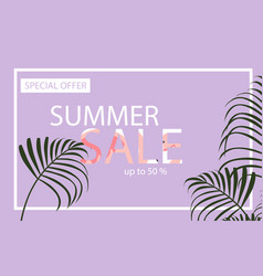 Summer sale banner with flamingo and tropical vector