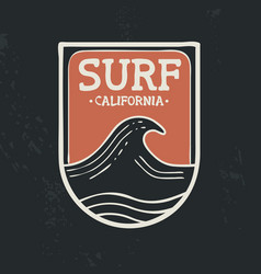 Surf in california beach wave emblem text quote vector