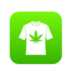 t-shirt with print of cannabis icon digital green vector image