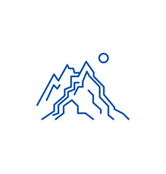 the mountains line icon concept the mountains vector image