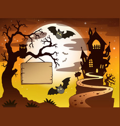 Theme with halloween silhouette 3 vector
