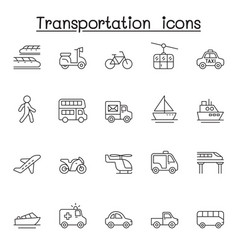 transport icon set in thin line style vector image