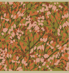 Vintage 70s color leaves and branches pattern vector
