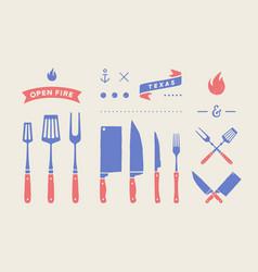 vintage meat set set meat cutting knive fork vector image