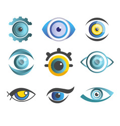 Vision eyes isolated abstract icons color pupils vector