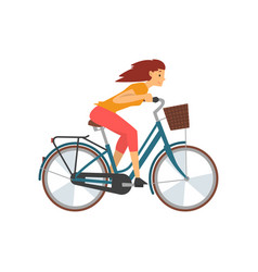 young woman riding bike fast female cyclist vector image
