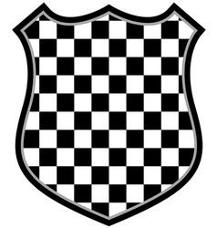 checkered shield vector image vector image