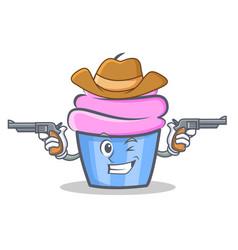 cowboy cupcake character cartoon style vector image vector image
