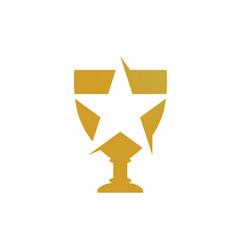 gold trophy logo vector image