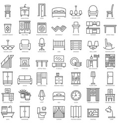 room furniture linear icons set vector image vector image