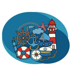 sea and nautical design set vector image vector image