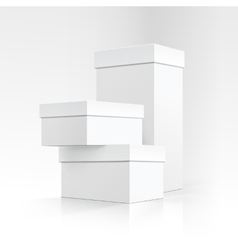 Set of White Carton boxes different sizes Isolated vector image