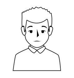Silhouette half body man with t-shirt vector