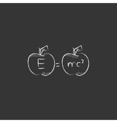 Two apples with formulae Drawn in chalk icon vector image vector image