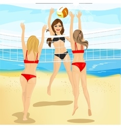 beautiful women play volleyball at beach vector image