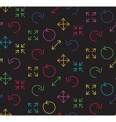 Colors arrows abstract web black seamless pattern vector image vector image