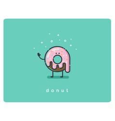 flat chocolate donut cartoon character vector image
