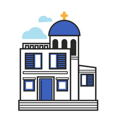 greek church in white and blue colors with gold vector image
