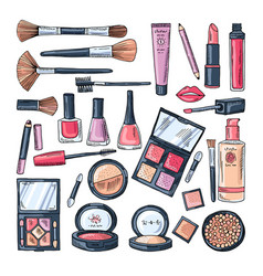 makeup products for women colored hand drawn vector image vector image