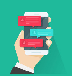mobile phone chat message notifications chatting vector image vector image
