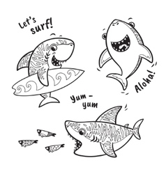 Outline set with shark in cartoon style vector image vector image