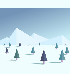 flat winter forest vector image vector image