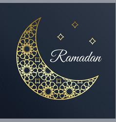 golden arabic ornamental moon with stars ramadan vector image vector image