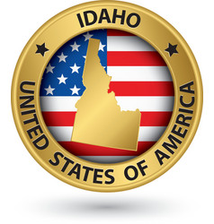 Idaho state gold label with state map vector image vector image
