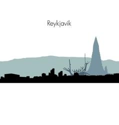Reykjavik skyline silhouette vector image vector image