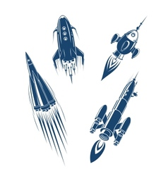 Space ships and spacecrafts set vector image