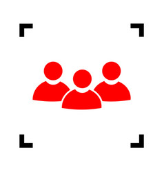 team work sign red icon inside black vector image