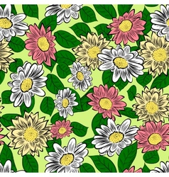 yellow hand drawn flowers vector image vector image