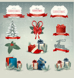 Big collection of Christmas icons and design vector image