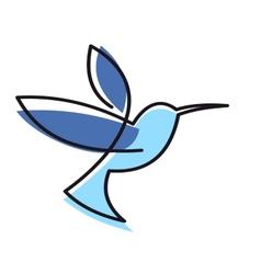Hovering blue hummingbird vector image vector image