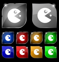 pac man icon sign Set of ten colorful buttons with vector image vector image