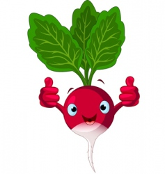 radish character giving thumbs up vector image vector image