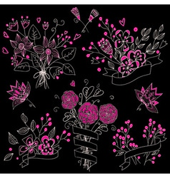 Set of hand drawn cute floral bouquets in vintage vector image