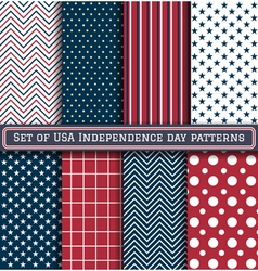 Set of USA Independence day patterns vector image
